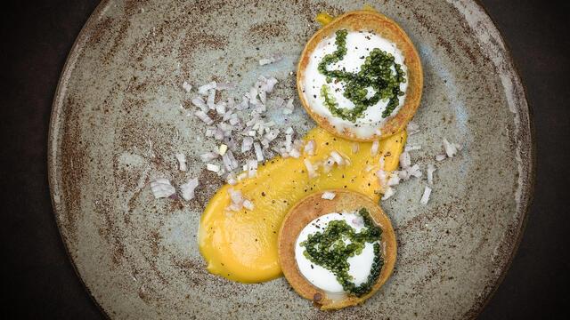 Pumpkin blinis with fresh cheese Moai Caviar