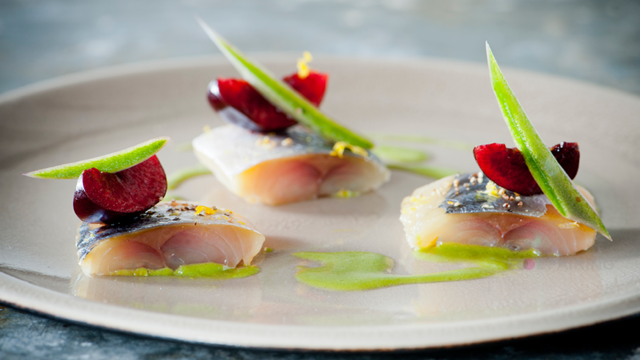 Cured Mackerel and Cherries with Green Apple – Majii Leaf vinaigrette