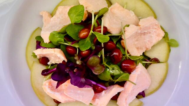 Salmon, beans and pickled apple salad
