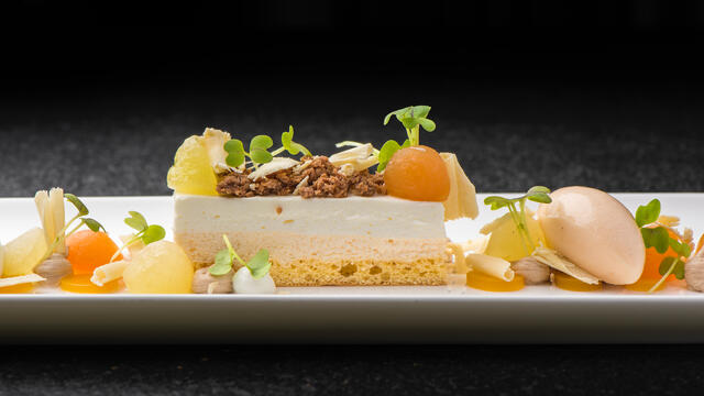 Melon, nougat, cottage cheese and Mustard Cress
