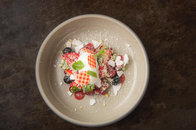 Red fruits, Citra Leaves, cottage cheese sorbet, strawberry juice