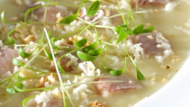 Potato leek soup with smoked eel