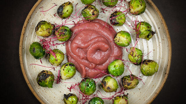 Brussels sprouts skewer on the bbq with apple-elderberry compote