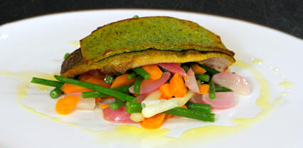 Trout with a breadcrumb and BroccoCress® crust