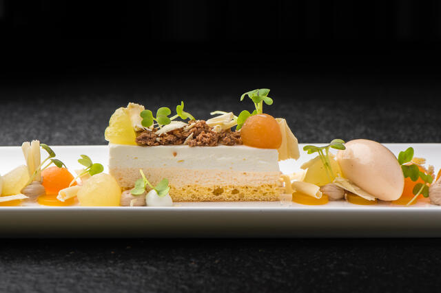 Meloen, nougat, kwark en Mustard Cress