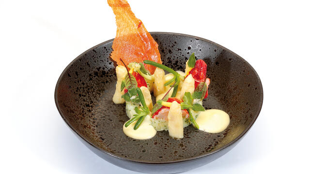 Limburg asparagus with Eastern Scheldt lobster, lemon Hollandaise sauce and Opperdoezer Ronde potato