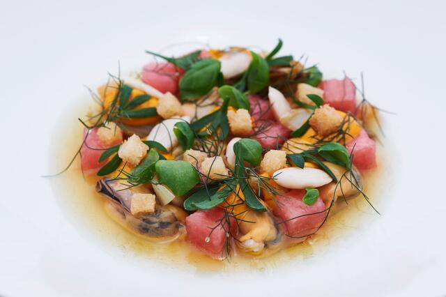 Bouchot mussel in escabeche almond, Sea Fennel, Basil Cress